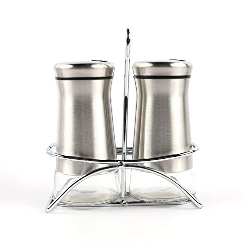 Houseables Salt And Pepper Shakers, Stainless Steel Dispenser With Stand, 4.5
