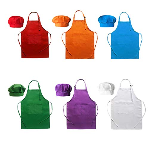Hi loyaya 6 Pcs Adjustable Children Chef Apron Set for Cooking Baking Painting Art Kids Chef Hat and Apron with 2 Pockets (Multicolor, M)]()