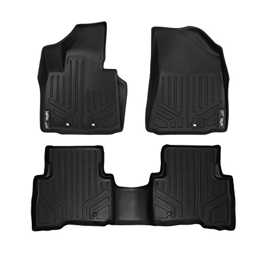 SMARTLINER Floor Mats 2 Row Liner Set Black for 2014-2015 Kia Sorento