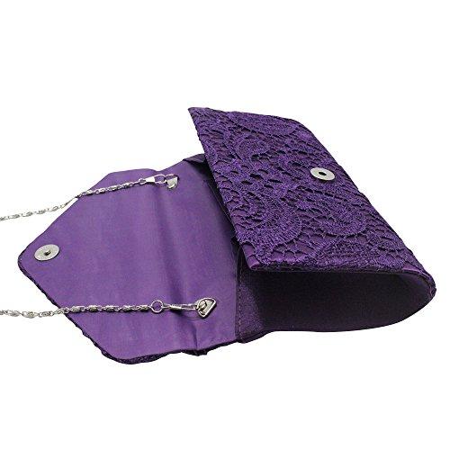 Purple Chain Womens Bridesmaid Clutch Prom Shoulder Party amp; Wocharm Lace Clutch Bag handbag Wedding TM Ladies gnwUqZB
