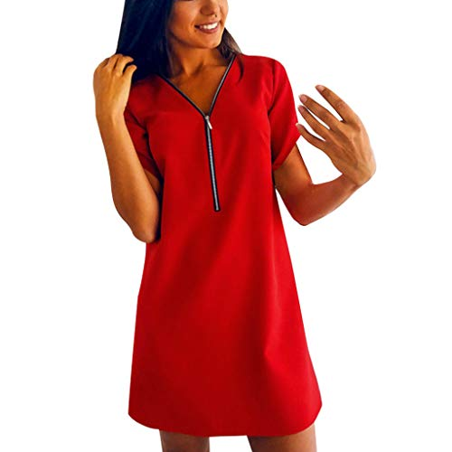 Clearance! Swiusd Women's Sexy Solid Color Zipper Mini Dresses Casual Comfy V Neck Short Sleeve Loose Party Evening Dresses (Red, XXL-US 12) ()