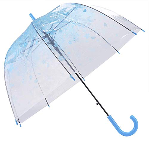 Outgeek Women Lady Girl Manual Sakura Plastic Transparent Long Arched Umbrella(Blue)