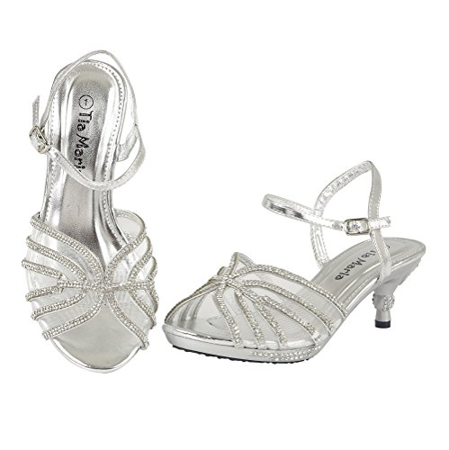 New Girls Mid Heel Prom Party Wedding Sandals Childrens Diamante Evening Kids Shoes Size Silver U7yxq03Md