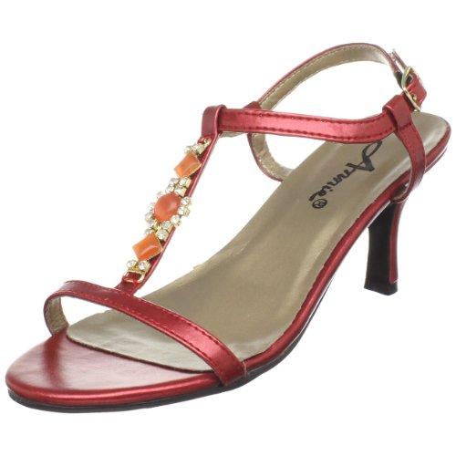 Scarpe Annie Donna Sandalo T-strap In Marmo Rosso Brillante
