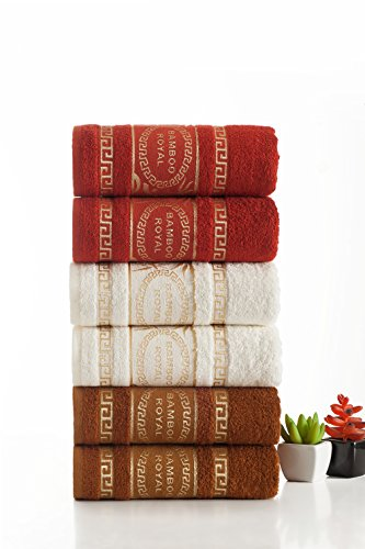 Spring Shoots Luxury Bamboo Hand Towels || Set of 6 || Anti-Bacterial || Ultra Soft & Fluffy || Super Absorbent || Satisfaction & || IXIRHOME