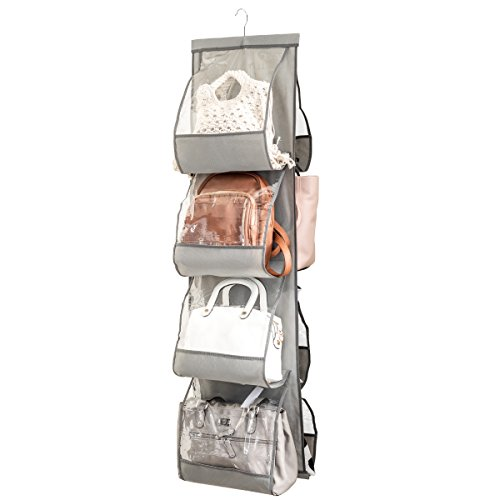 Zober Hanging Purse Organizer For Closet Clear Handbag Organizer For Purses, Handbags Etc. 8 Easy Access Clear Vinyl Pockets With 360 Degree Swivel Hook, Gray, 48