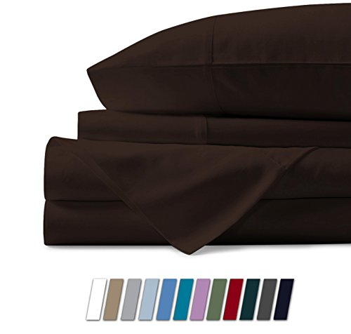 500 Thread Count 100% Cotton Sheet Coffee King Sheets Set, 4-Piece Long-staple Combed Pure Cotton Best Sheets For Bed, Breathable, Soft & Silky Sateen Weave Fits Mattress Upto 18'' Deep Pocket (King Staples)