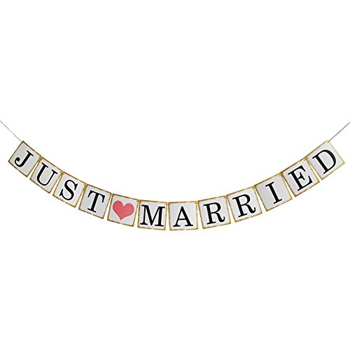 Just Married Banner Bunting Sign Garland Wedding Photo Props Wedding Party Decoration
