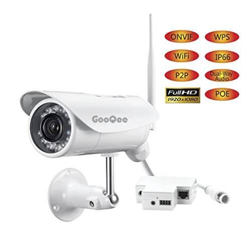 GooQee Outdoor Wifi Network Camera HD 1080P Waterproof - 2.4G Wireless IP P2P Security DVR with WPS POE 2-Way Audio Motion Detection and 49ft Night Vision - Support Max 128Gb Micro SD Card (NC007PW) by GooQee