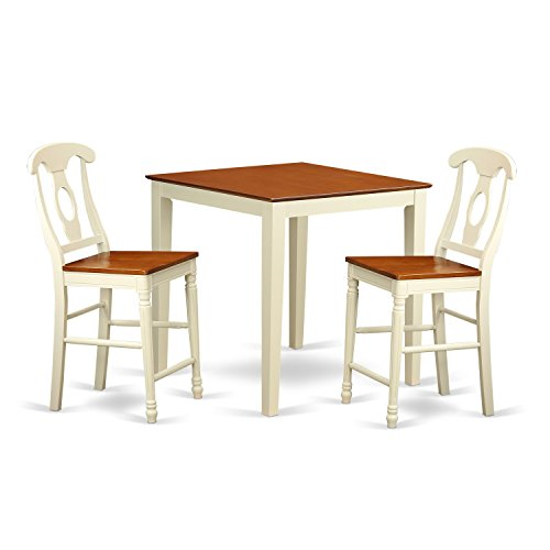 East West Furniture VNKE3-WHI-W 3 Piece Counter Height Table and 2 Kitchen Chairs Set