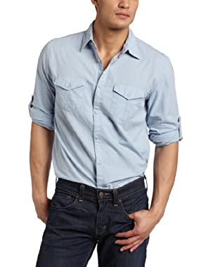 Calvin Klein Men's Roll Up Solid Woven Shirt