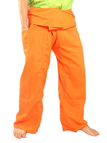 Jing Shop Thai Fisherman Pants Solid Color Cotton Mix One Size X-Long - Color Mix Orange