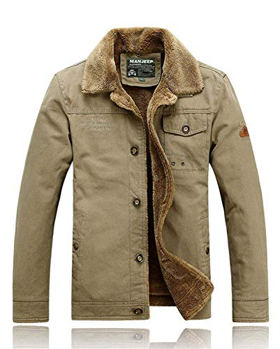 Fleece Lined Thick Man's Winter Coat Fur Collar Men's Cargo Winter Army Military Jacket Tactical Male,Large,Khaki