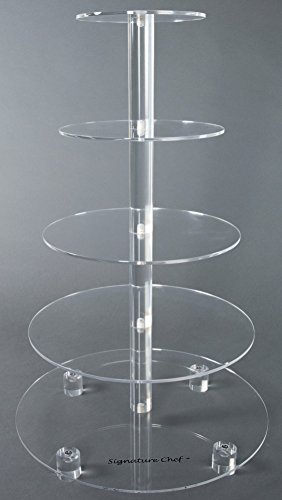 Signature Chef Acrylic Cupcake Stand 5 Tiers with 5 inch Spacing