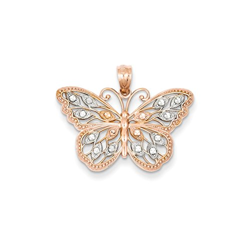 ICE CARATS 14kt Rose Gold Butterfly Pendant Charm Necklace Animal Fine Jewelry Ideal Gifts For Women Gift Set From Heart 14kt Gold Butterfly Charm Pendant