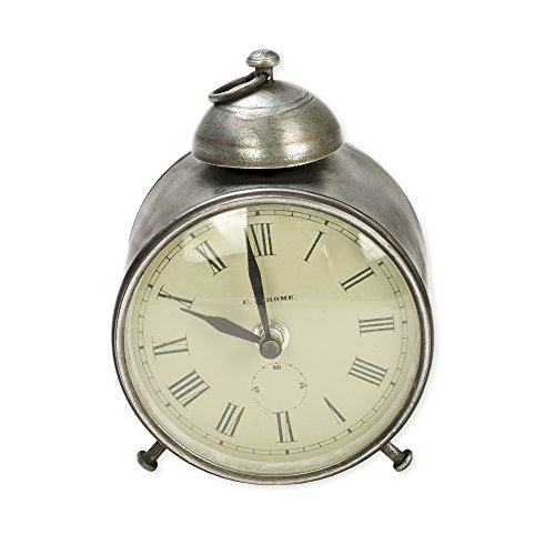Metallic Round Face Clock 6 inches Metal and Glass Decorative Analogue Clock by The Country House Collection