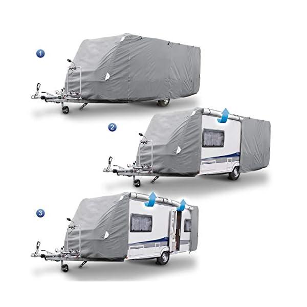 41HUulmJchL ECD Germany Schutzhülle für Wohnwagen Größe M 520 x 225 x 220 cm - Atmungsaktiv - Wasserdicht - Staubdicht UV Schutz…