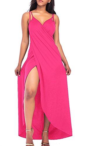 Mujeres Sin mangas Talla Extra Cubierta Arriba Playa Vestido Largo De Abrigo Rose
