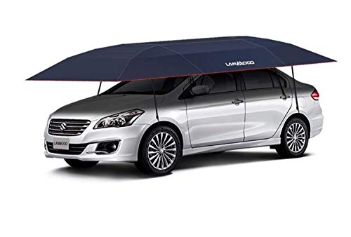 LANMODO Pro Semi-auto Car Tent Movable Carport Folded,Car Umbrella Tent with Anti-UV,Water-Proof, Proof Wind, Snow, Storm, Hail, Falling Objects 188.97X90.5 inch (4.8M Semi-auto Without Stand, Navy)