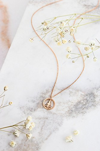 Gold Pine Tree Necklace, Rose Gold Tree Pendant, 9K, 14K, 18K Gold Necklace, Rose Gold Pine Tree Charm, Special Gift For Her /code: 0.002