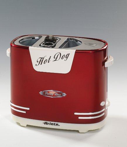 Ariete-186-Party-Time-Mquina-de-perritos-calientes-con-ranura-para-pan-y-salchichas-color-rojo