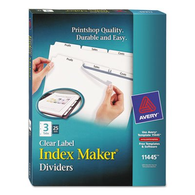 Index Maker Clear Label Dividers, 3-Tab, Letter, White, 25 S