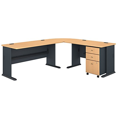 Bush Business Furniture Series A 87W x 75D L Shaped Desk with Mobile File Cabinet in Beech and ()