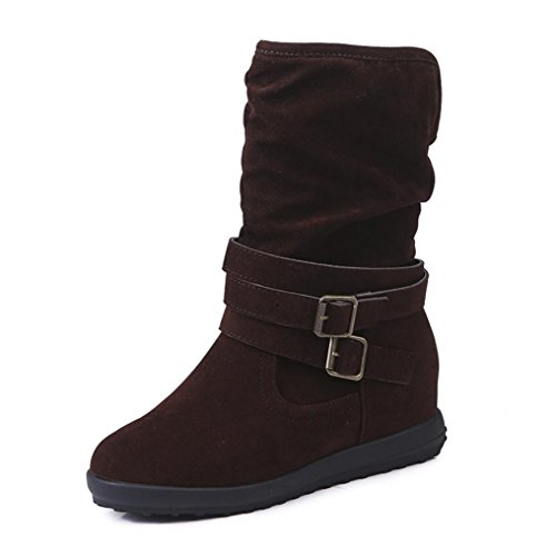 Aurorax Women's Girl Booties Low Wedge Buckle Biker Ankle Snow Boots Flat Winter Shoes Western Boots (Brown, 42)