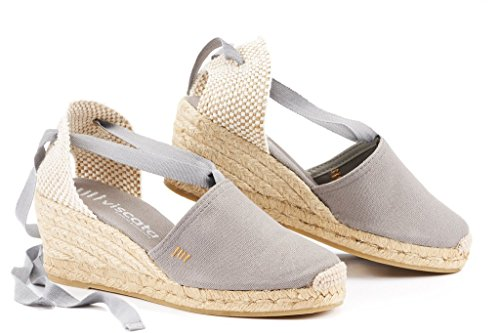 "VISCATA Escala 2.5"" Wedge, Soft Ankle-Tie, Closed Toe, Classic Espadrilles Heel Made in Spain Ash"
