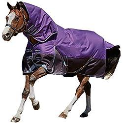 "Weatherbeeta Comfitec Plus Dynamic Detach-A-Neck Medium Turnout Blanket Purple/Black 75"""