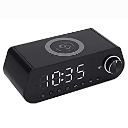 BT Clock Radio with Wireless Charger LED Display Wireless Fast Charger Bluetooth Speaker for Phones, Pcs, and Tablets,B