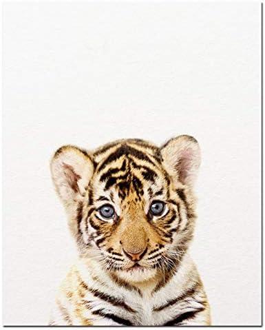 QINGRENJIE Safari b/éb/é Animaux Toile Affiche p/épini/ère Lion Tigre Mur Art Impression Moderne Peinture Animale Nordique Enfant Chambre d/écoration Photo 30X40 cm sans Cadre