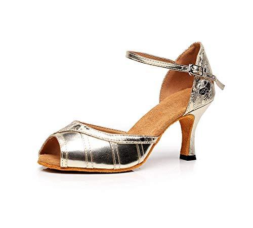 Eu41 Argenté7 Bout Our42 Yingsssq Latine Pour Chaussure En De À Chaton Femmes Pointu Danse Sequins Cuir 5cm fr7 Talon qqFwTf