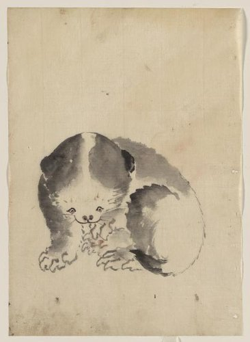 Photo: A cat cleaning its claws,Photo of Ukiyo-e,Hokusai Katsushika,Japan,c1840 - Ing Costumes Online