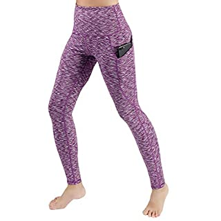 ODODOS Women's High Waist Yoga Pants with Pockets,Tummy Control,Workout Pants Running 4 Way Stretch Yoga Leggings with Pockets,SpaceDyePurple,Medium