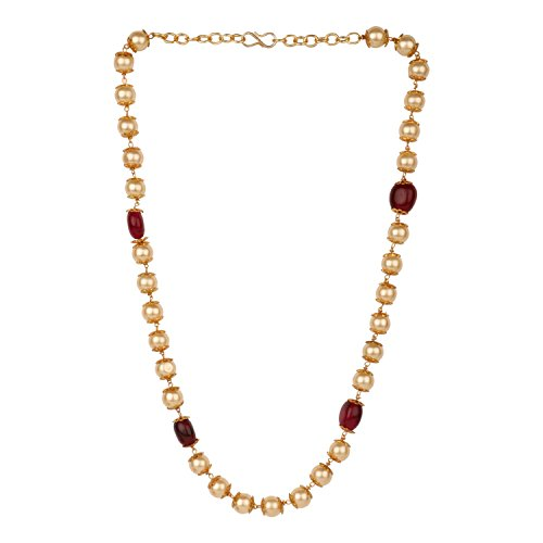 Efulgenz Indian 14 K Gold Plated Red Faux Ruby Pearl Beads Strand Neckalce Fashion Costume Jewelry for Women (Mala Beads Ruby)