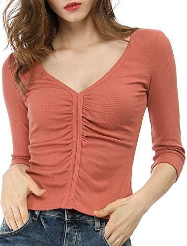 Allegra K Camisa Entallada De Manga Corta con Pliegues Cuello En V Profundo para Mujeres - Naranja Roja/XS: Amazon.es: Ropa y accesorios