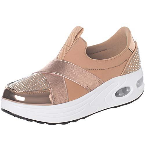 Fashion Women Wedges Casual Shoe Rhinestone Thick Bottom Cross Bandage Breathable Rocking Shoe Working Sneaker Beige