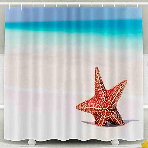 Capsceoll Wide Shower Curtain, Décor Bathroom Curtain Tropical Beach Beautiful Red Starfish in White Sand a 78x72 inches with Free Hooks Fabric Bath Shower Curtain