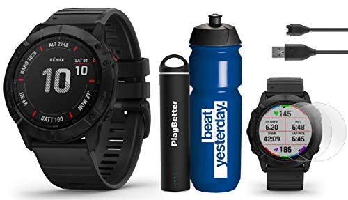 Garmin Fenix 6X Pro (Black with Black Band) Premium Bundle | Includes Garmin Water Bottle, HD Screen Protectors & PlayBetter Charger | 2019 | PulseOx, PacePro, Maps, Spotify & Music