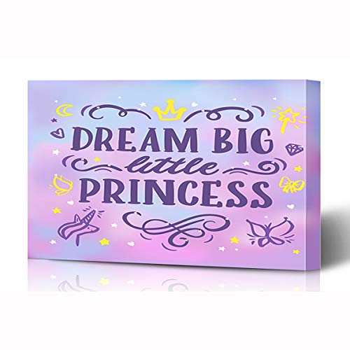 Ahawoso Canvas Prints Wall Art 16x12 Inches Drawn Pink Crown Inscription Dream Big Little Text Princess Abstract Quote Kids Phrase Saying Wooden Frame Printing Home Living Room Office Bedroom
