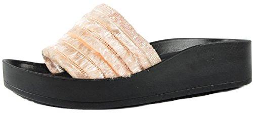 CAPRIUM Pantoletten Comfort Fransen Metallic Glitzer Sandalen Sommerschuhe Slipper 004206 Rosa (Modell 1)