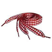 Red Gingham Flat Ribbon Shoelaces, Shoe Laces For Kids, Youths & Women's Converse All Star Sneakers