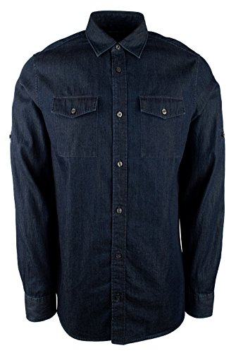 Michael Kors Men's Long Sleeve Denim Classic Fit Shirt (Small, Dark Wash) by Michael Kors