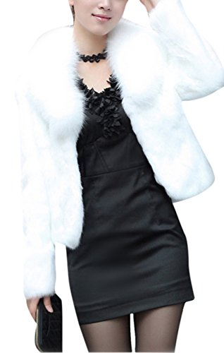 GESELLIE Women's White Fashion Faux Fox Fur Long Sleeve Thick Overcoat Slim Short Coat S by GESELLIE