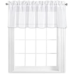 "NICETOWN Kitchen Window Treatment Voile Valances - Small Window Linen Look Sheer Curtain Tiers for Cafe Store (White, 2 Panels Per Package, 55"" Wide x 18"" Long)"
