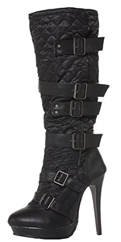 Womens Ladies Mid High Heel Block Stiletto Cheap Clearance Winter Calf Over Knee Fur Zip Platform Boots Size Style 3 - Black 3gr2uHyn