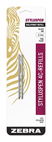 - Zebra StylusPen Twist Ballpoint Pen 4C Refill, Fine Point, 0.7mm, Black Ink, 2-Count