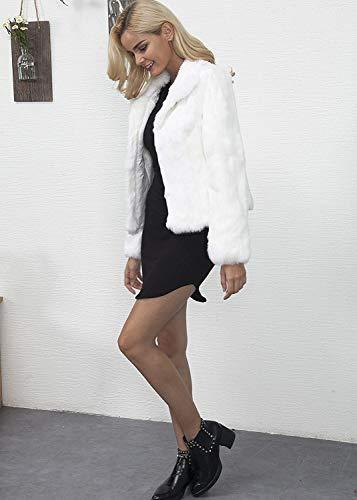 Eleganti Termico Sintetica Pelliccia Colori Alta Giaccone Manica Chic Corto Invernali Hot Donna Giacca Bianca Cappotto Vita Bavero Di Prodotto Lunga Solidi Fashion Plus Cute q4x8PExT