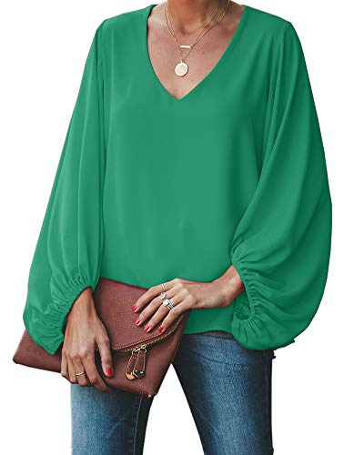 Umeko Womens V Neck Chiffon Blouses Tops Oversized Long Lantern Sleeve Pullover Shirts Green]()